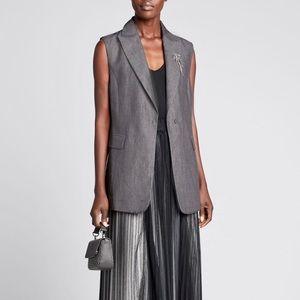 Grey Twill Lightweight Sleeveless Blazer Vest